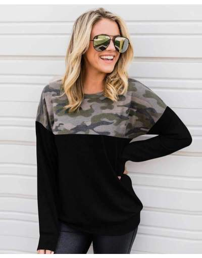 Casual Loose Print Round neck Long sleeve Sweatshirts