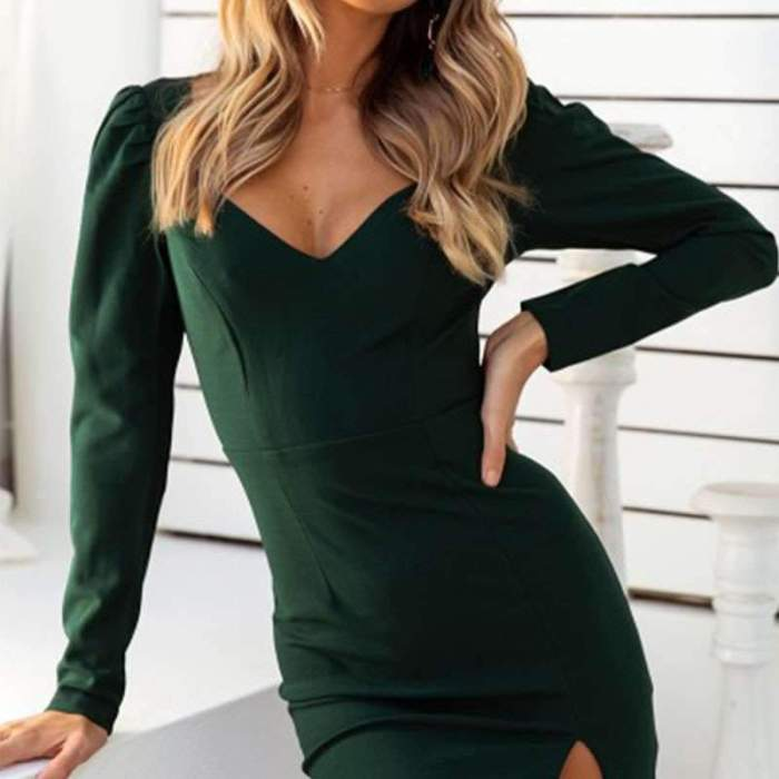 Sexy Long sleeeve Vent Bodycon Evening Dresses