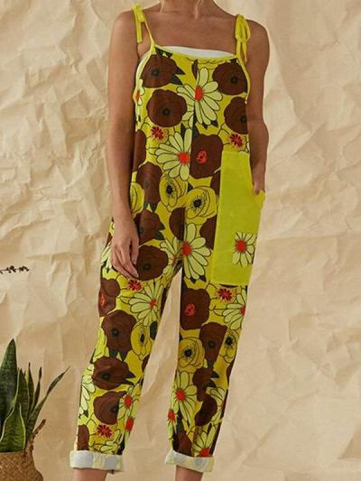 Casual Print Vest Sleeveless Jumpsuits