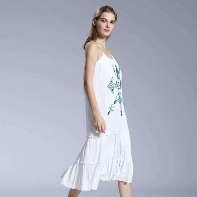 Casual Print Round neck Vest Maxi Dresses