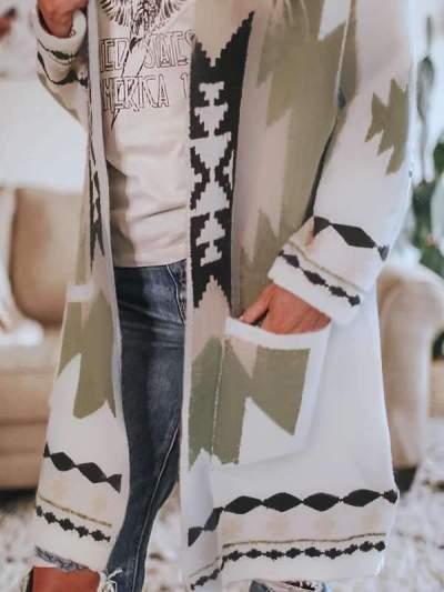 Fashion Casual Print V neck Long sleeve Trench Coats