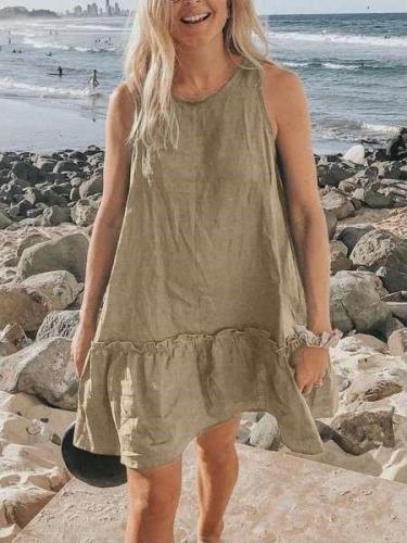 Casual Loose Pure Round neck Sleeveless Gored Falbala Shift Dresses