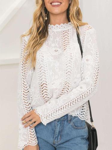 White Elegant Lace Long Sleeve Woman Blouses