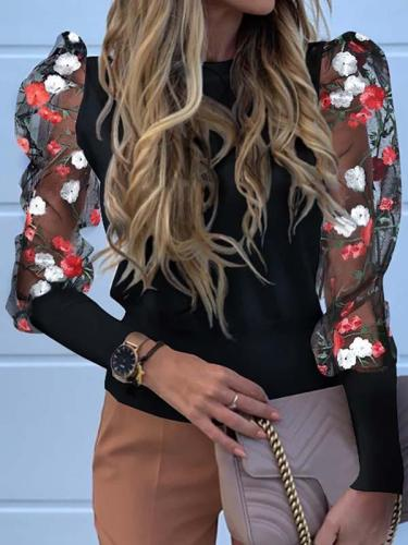 Women flower printed fashion puff sleeve blouses