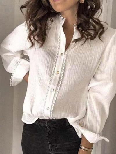 White long sleeve lace blouses