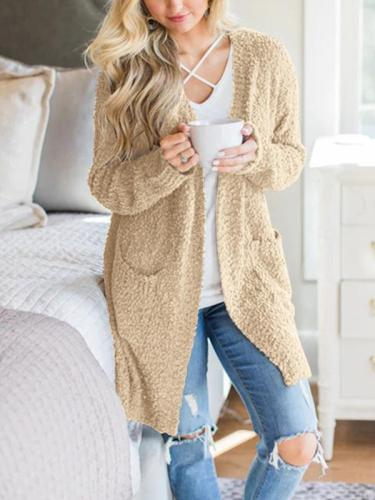 Plain Long sleeve Cardigan Pocket Knit Coat