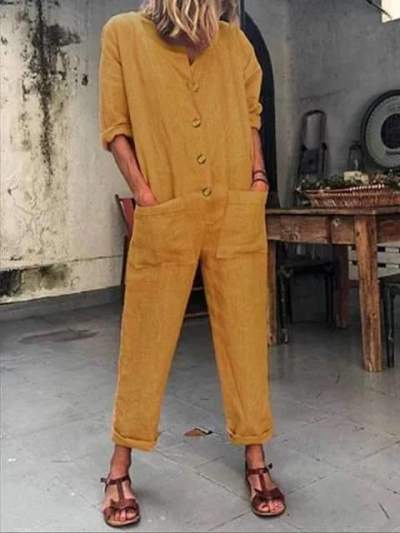 Fashion Casual Pure Long sleeve Round neck Pocket Jumpsuits