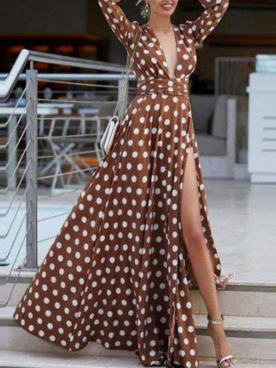 Bohemian long sleeves v-neck polka dot printed big hem maxi dresses