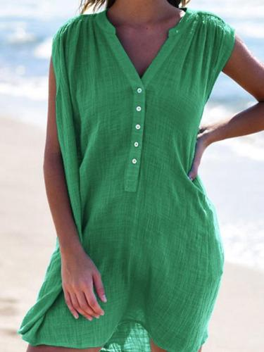 Sexy Solid Color V-Neck Sleeveless Button Shift Dresses