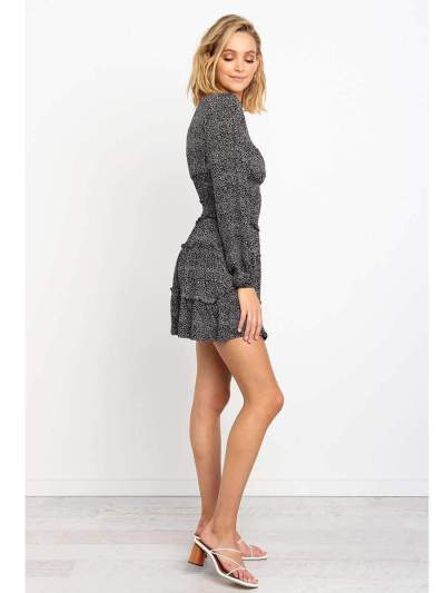 Fashion  Stringy selvedge Drape Long sleeve Skater Dresses