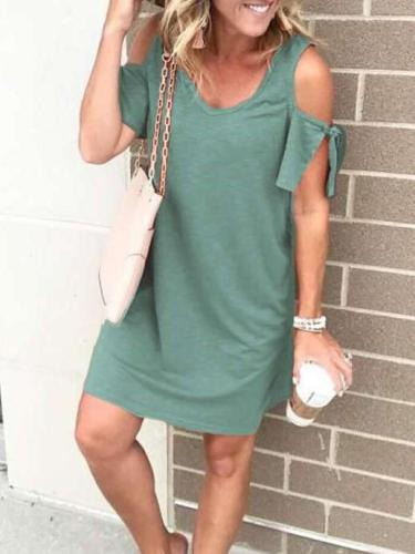 Fashion Off shoulder Short sleeve V neck Shift Dresses