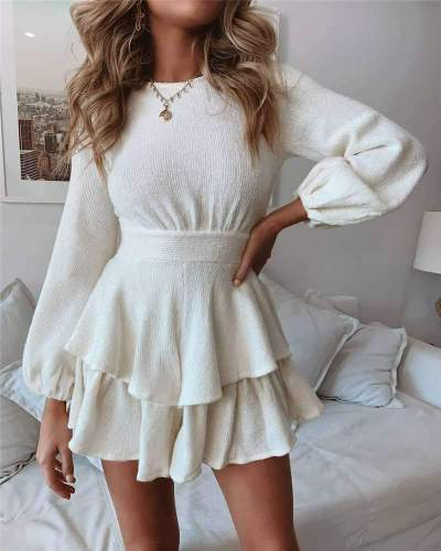 Pure Round neck Long sleeve Skater Dresses
