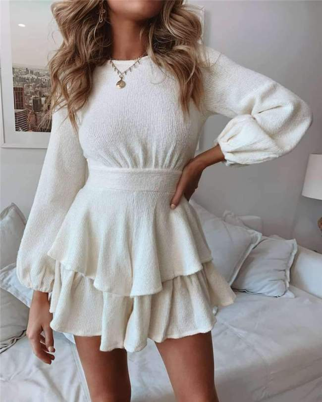 Pure Round neck Long sleeve Lacing Skater Dresses