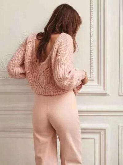 Woman Fashion Solid Color Knitting Sweater Tops