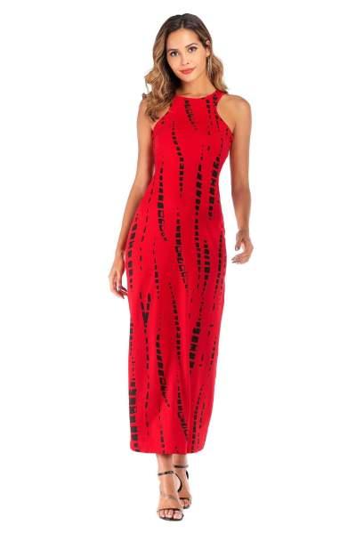 Sexy Print Sleeveless Vest Round neck Maxi Dresses