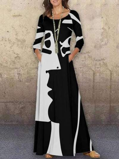 Fashion Vintage Women Printed Long Sleeve Maxi dressses