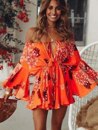 Fashion Print Off shoulder Long sleeve Skater Dresses