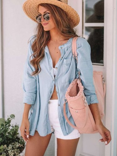 Casual Pure Jeans Long sleeve Blouses