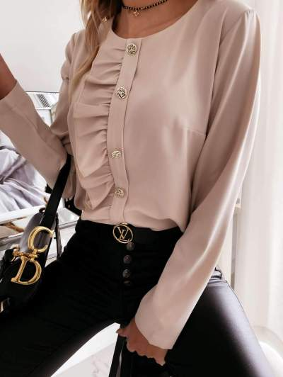 Fashion Pure Round neck Long sleeve Fastener Falbala Blouses