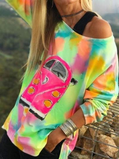 One off shoulder women car printed sweatshirts