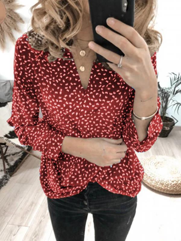 Wave dot printed v-neck long sleeve top blouses