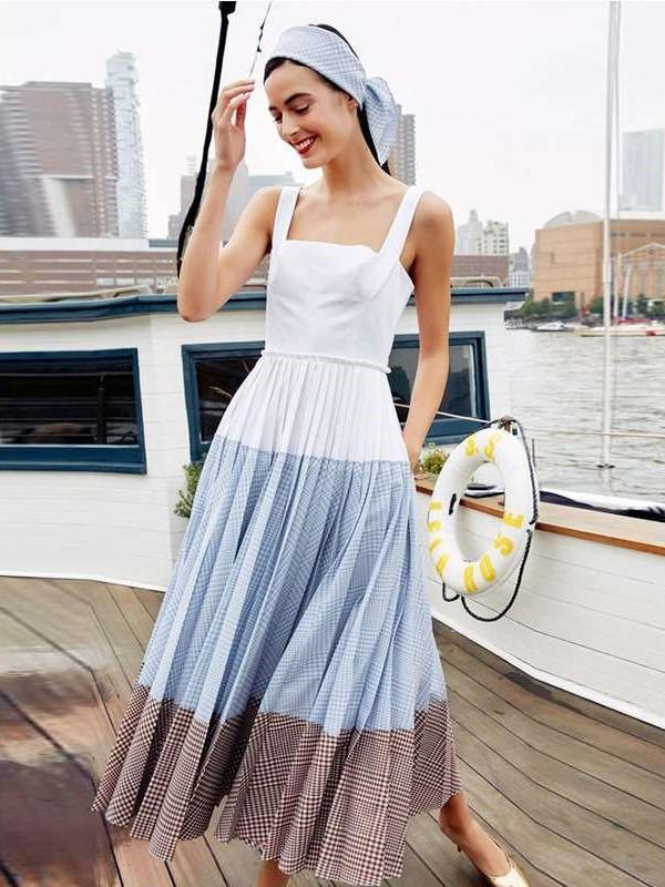 Fashion Casual Gored Print Vest Maxi Dresses