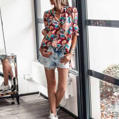 Fashion Print V neck Long sleeve Blouses