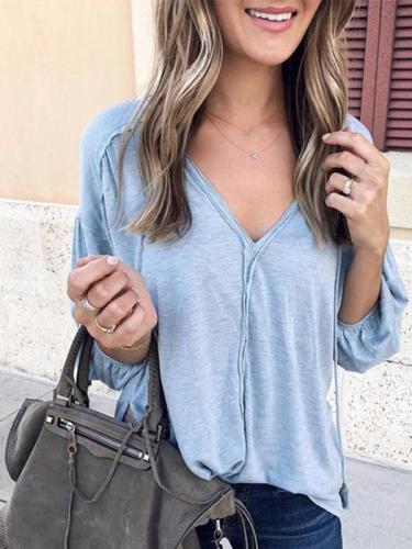 V Neck Long Bubble Sleeve Plain Elegant T-shirt