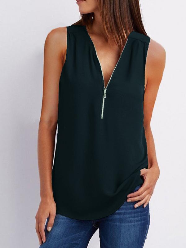 Fashion Loose Daily Chiffon Long Sleeve V Neck Vests