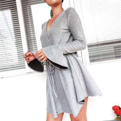 Sexy Paillette Falbala Lacing V neck Long sleeve Skater Dresses