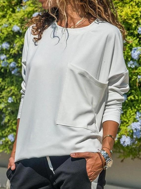 Casual Pure Round neck Pocket T-Shirts