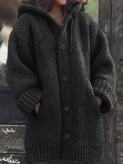 Hooded solid loose sweater coats