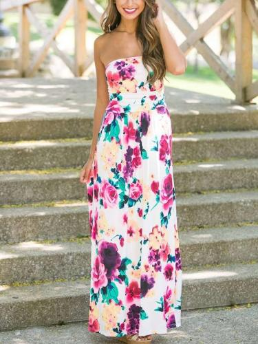 Fashion Floral Vest Maxi Dresses