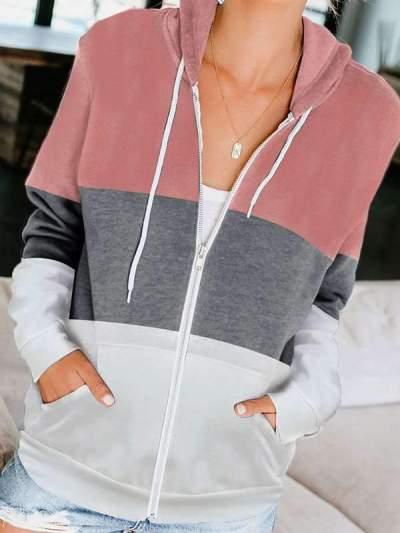 Women Zipper long sleeve hooded pocket casual hoodied