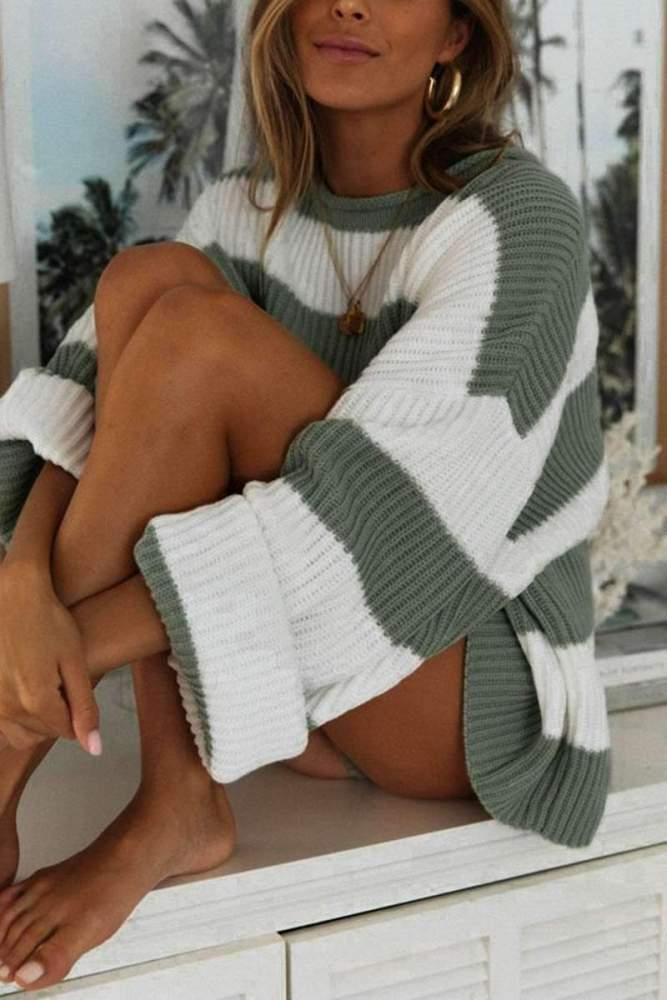 Fashion Loose Stripe Round neck Knit Sweaters