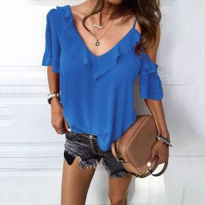Fashion Pure V neck Short sleeve Off shoulder Falbala T-Shirts