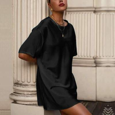 Fashion Casual Pure Round neck Short sleeve Shift Dresses
