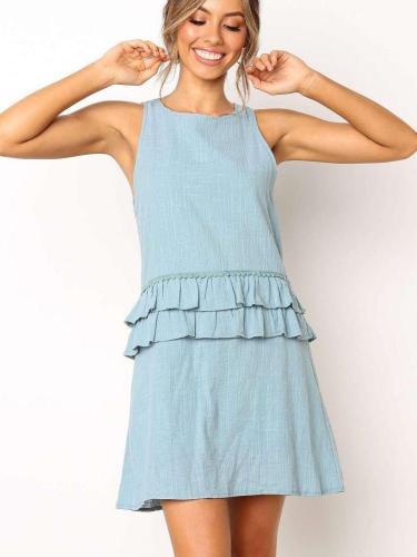 Fashion Sleeveless Round neck  Falbala Shift Dresses