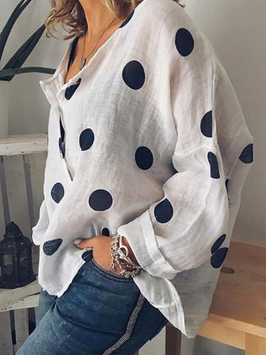 Printed polka dot v-neck long sleeves button blouses