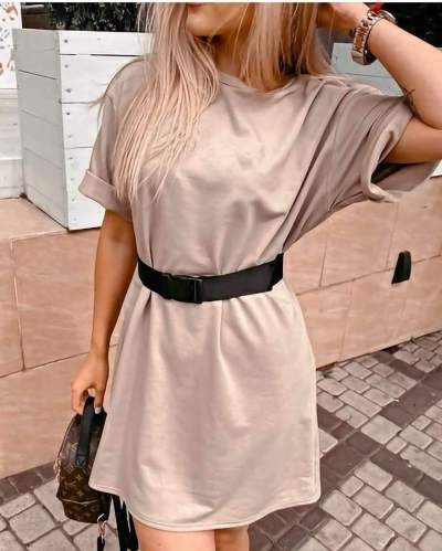 Fashion Pure Round neck Short sleeve Belt Shift Dresses