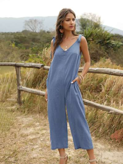 Casual Loose Pure V neck Sleeveless Jumpsuits