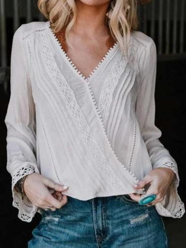 Fashion Pure Lace Hollow out V neck Long sleeve Blouses
