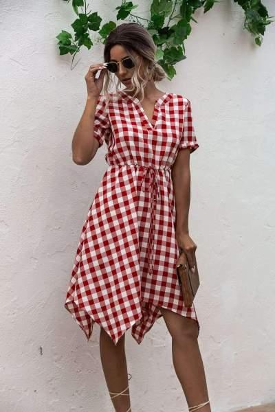 Fashion Plaid V neck Lacing Short sleeve Skirt Skater Dresses