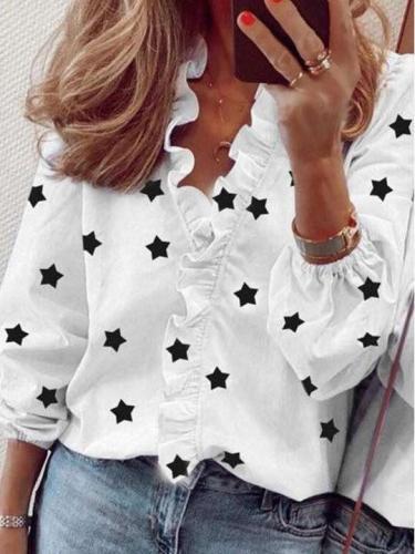 Fashion Print Ruffled collar Long sleeve Blouses