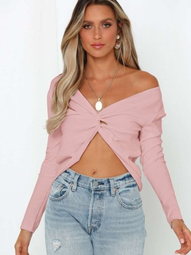 Sexy Pure Off shoulder V neck Long sleeve Sweaters