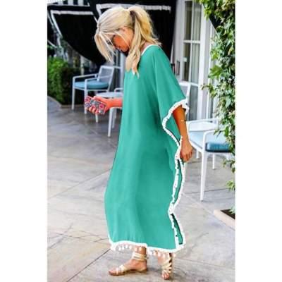 Casual V neck Short sleeve Macrame Maxi Dresses