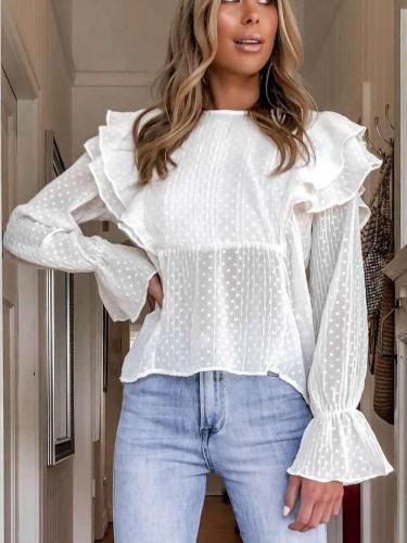 Fashion Pure Round neck Falbala Long sleeve Blouses