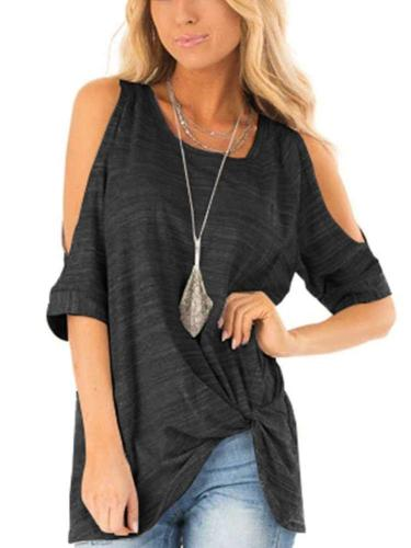Fashion Round neck Off shoulder Short sleeve T-Shirts