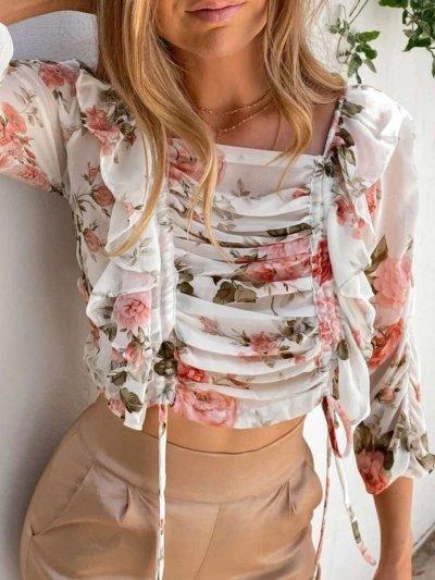 Fashion Print Long sleeve Lacing Square collar Blouses