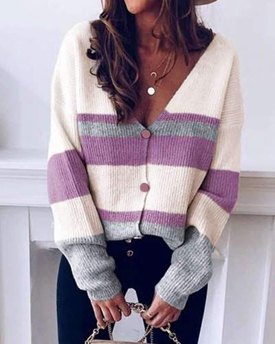 Fashion Stripe V neck Long sleeve Fastener Knit Cardigan